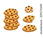 chocolate chip cookies | Shutterstock .eps vector #339175349