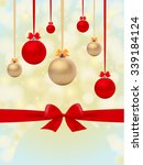 christmas background with balls ... | Shutterstock .eps vector #339184124