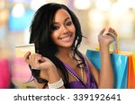 young black woman with shopping ... | Shutterstock . vector #339192641