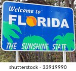 A Welcome Sign At The Florida...