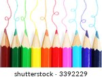 colorful pencils with hand... | Shutterstock . vector #3392229