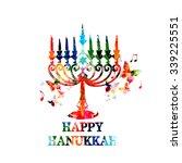 Colorful Hanukkah Menorah With...