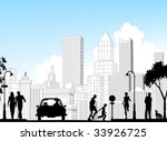 Editable vector silhouette of a busy street with city buildings as background; all silhouette elements as separate objects. - stock vector