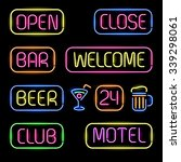 Set Of Glowing Neon Signboards...