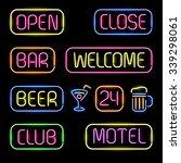 set of glowing neon signboards... | Shutterstock .eps vector #339298061