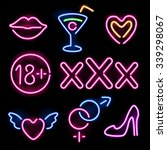 set of glowing neon erotic... | Shutterstock .eps vector #339298067