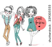 set with cute fashion girls  | Shutterstock .eps vector #339305555