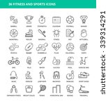 set of 36 fitness and sports... | Shutterstock .eps vector #339314291