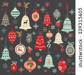 chalkboard vintage christmas...   Shutterstock .eps vector #339315605