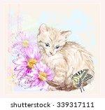 birthday card with  kitten ... | Shutterstock .eps vector #339317111
