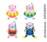 vector 4 cute cartoon pigs in... | Shutterstock .eps vector #339328394
