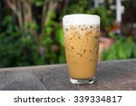 iced coffee on a wooden table ... | Shutterstock . vector #339334817