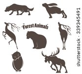 Stock vector vector set of silhouettes of animals living in the forest 339345491