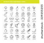 set of 36 fruits and vegetables ... | Shutterstock .eps vector #339355355