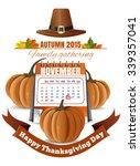 calendar  pumpkins and pilgrim... | Shutterstock .eps vector #339357041