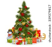 vector christmas tree with... | Shutterstock .eps vector #339379817