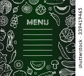 menu with  hand drawn... | Shutterstock . vector #339419465