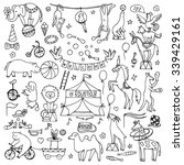 hand drawn circus set. vector... | Shutterstock .eps vector #339429161