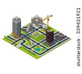 isometric big city map.... | Shutterstock .eps vector #339431921