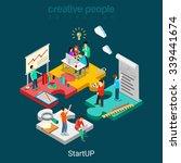flat 3d isometric startup... | Shutterstock .eps vector #339441674
