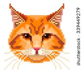 Pixel Red Cat Face High...