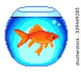pixel goldfish in fishbowl... | Shutterstock .eps vector #339449285
