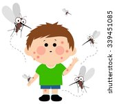 boy bitten by mosquitoes.  | Shutterstock .eps vector #339451085