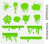 Green Slime Set Isolated On A...