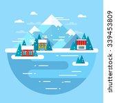 vector winter landscape. ski... | Shutterstock .eps vector #339453809