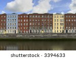 Houses in Dublin, Ireland by the river Liffey. - stock photo