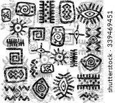 grunge african symbols... | Shutterstock . vector #339469451
