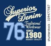 superior denim print logo ...   Shutterstock . vector #339477587