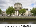 The Four Courts along the River Liffey quayside, Dublin, Ireland. - stock photo