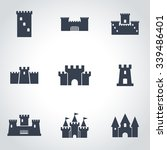 vector black castle icon set. | Shutterstock .eps vector #339486401