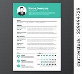 cv  resume template  vector... | Shutterstock .eps vector #339494729