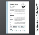 cv  resume template  vector... | Shutterstock .eps vector #339494807