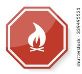 white bonfire icon on red stop... | Shutterstock .eps vector #339495521