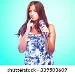 pretty woman singing | Shutterstock . vector #339503609