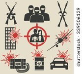 terrorism icons set. vector... | Shutterstock .eps vector #339506129