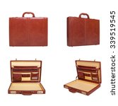 set of brown leather briefcase  ... | Shutterstock . vector #339519545
