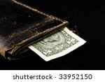 old purse and one dollar... | Shutterstock . vector #33952150