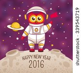 new year greeting card with owl ... | Shutterstock .eps vector #339543719