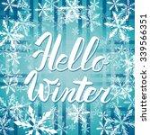 hello winter text. vector brush ... | Shutterstock .eps vector #339566351