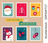 christmas postal stamps set.... | Shutterstock .eps vector #339569717