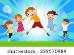 happy jumping kids | Shutterstock .eps vector #339570989