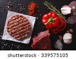 raw ground beef meat burger... | Shutterstock . vector #339575105