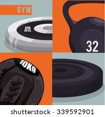 fitness concept with gym icons...   Shutterstock .eps vector #339592901