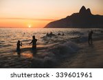 Sunset On The Ipanema Beach In...