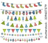christmas flags and garland set | Shutterstock .eps vector #339607379