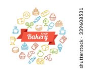 bakery shop colorful concept... | Shutterstock . vector #339608531